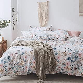 VCLIFE Bedding Sets Colorful Floral Duvet Cover Sets Full Queen Girl Woman Pure Cotton Kids Adults Bedding Quilt Cover Sets for Spring Summer Lightweight Soft Hotel Quality Bedding Cover Sets Queen