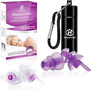 【2019 Nuevo diseño】 Tapones para los oídos para Dormir Hearprotek 2 Pares Protección Auditiva Tapones(32db & 30db) para r...