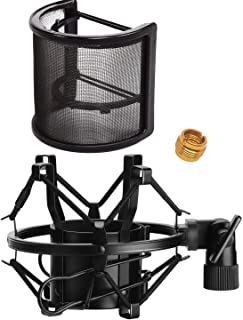 ポップガード&ショックマウント セット マイクフィルター U型 ウインドスクリーン 金属ネット層 コンデンサーマイク ポップブロッカノイズ 振動 軽減 雑音防止 簡単取り付け 宅録 動画投稿 演奏録音 ナレーシ46mm-53mmのマイク対応