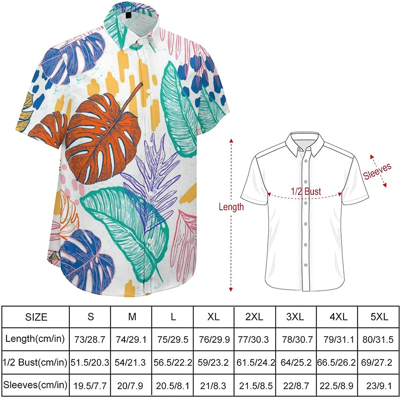 Men's Short Sleeve Button Down Shirt Watercolor Leaves Summer Shirts