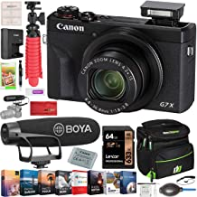Canon PowerShot G7 X Mark III 20.1MP 4K Digital Camera Vlogging Bundle Black 3637C001 with BOYA Super Cardioid Video Microphone + Deco Gear Travel Case + 64GB Card + Compact Tripod Accessory Kit
