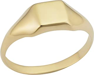 KoolJewelry 14k Yellow Gold 6.9 mm Square Signet Ring for Men and Women, Size 4-8
