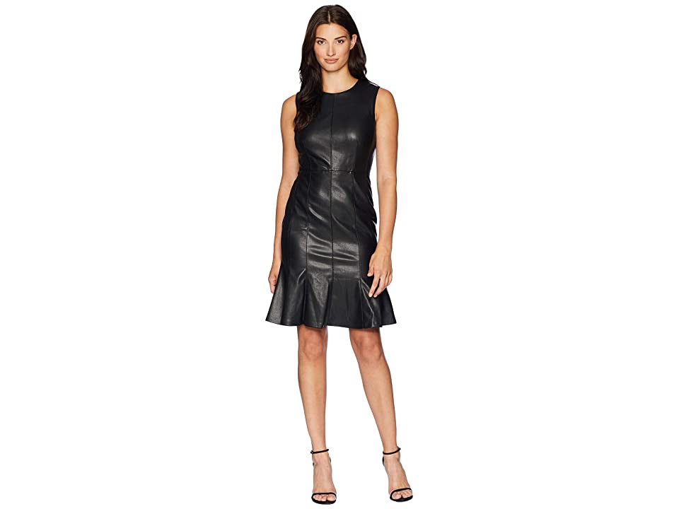 Calvin Klein PU Fit Flare Dress CD8U14QB (Black) Women