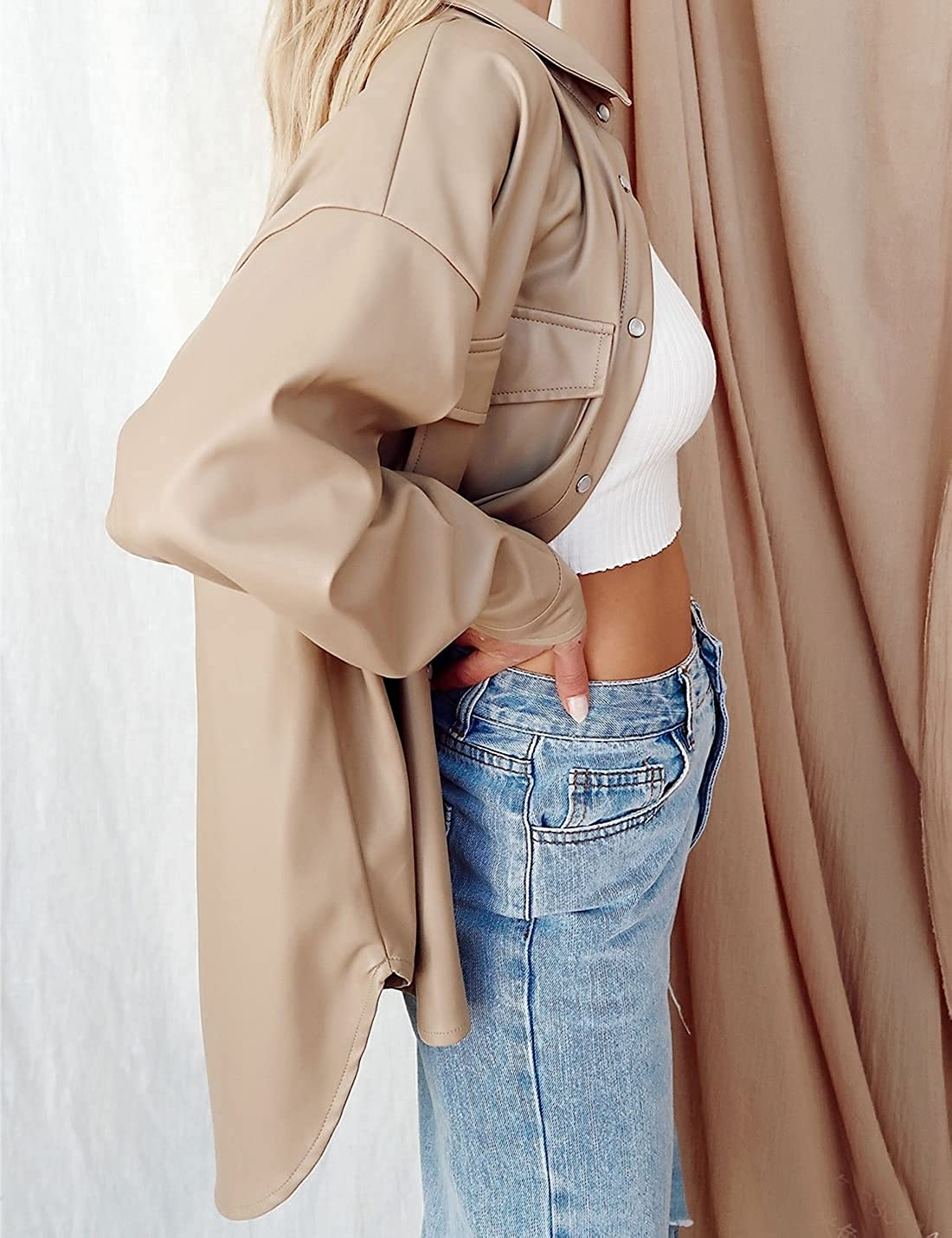 SeekMe Women's PU Leather Jacket Shacket Button Down Lapel Blazer Coat with Bust Pocket