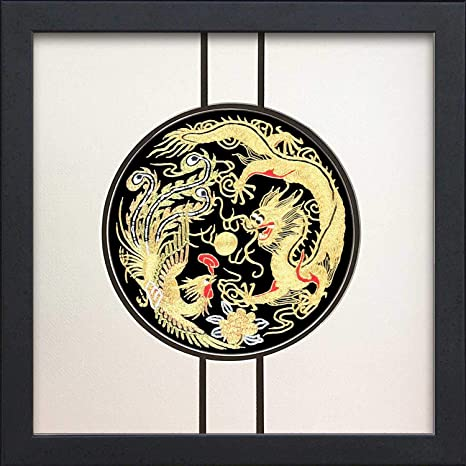 Chinese gold dragon embroidery wall art in wood frame npp steroid libido