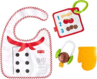 Fisher-Price Cutest Chef Gift Set, 4 cooking-themed baby toys with wearable bib and teether for babies ages 3 months and o...