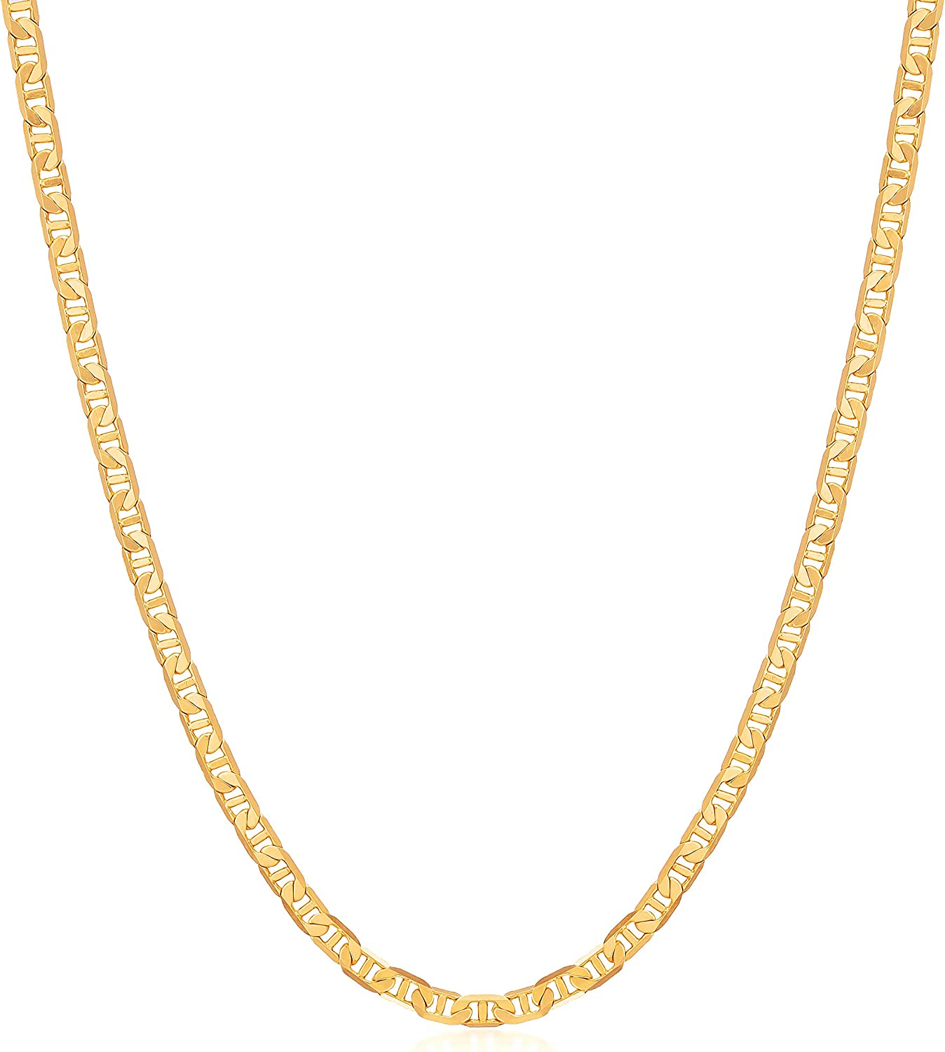Womens Chain Necklace, Mens Gold Chain Necklace   Barzel 18K Gold Plated Flat Mariner / Marina 3MM, 3.5MM, 4.5MM, 5MM, 6MM, 8MM Chain Necklace