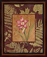Pink Flowers with Leaf Border 2 by Debra Lake Framed Art Print Wall Picture, Traditional Brown Frame, 19 x 23 inches