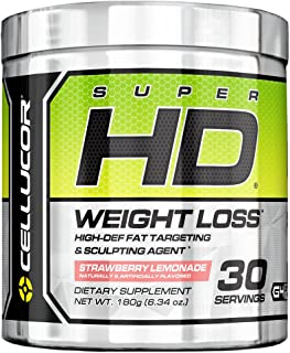 Cellucor SuperHD Thermogenic Fat Burner Powder for Weight Loss, Fat Burners For Men & Women, Strawberry Lemonade, 30 Servings, 6.34 Ounce