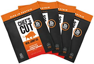 Chef's Cut Real Steak Chipotle Cracked Pepper Jerky - Premium Cuts, Gluten & Nitrite Free - Paleo Friendly, 2.5 Ounce (Pack of 4)