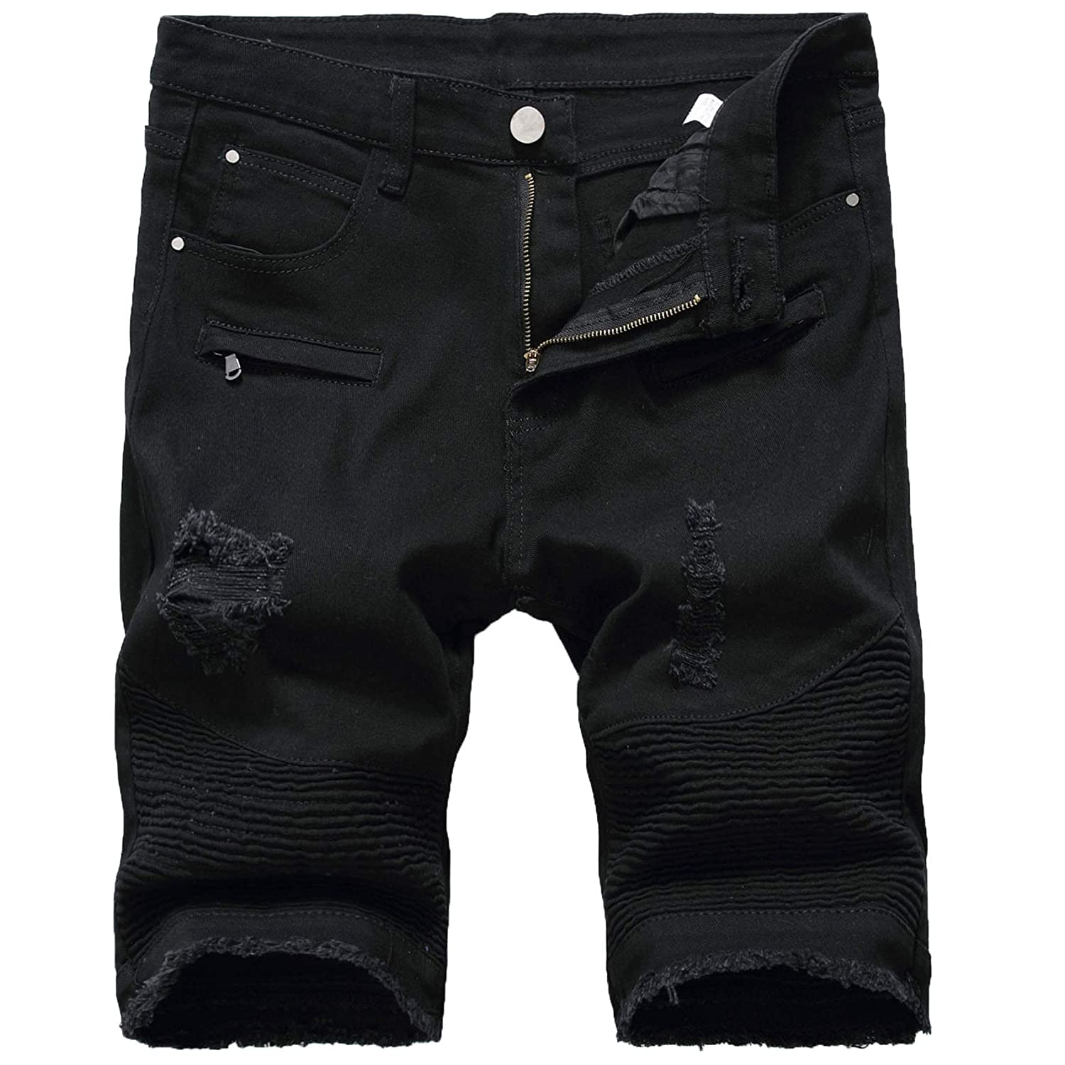 Men's Wrinkle Denim Shorts Mens Summer Ripped Short Jeans Classic Fit Ripped Jeans Biker Shorts Denim Shorts with Hole (Black hole,35)
