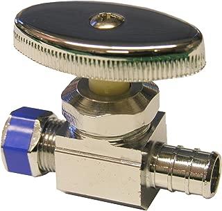 LASCO 06-7421 Straight Stop PEX Valve, 1/2-Inch Pex Pipe X 3/8-Inch Compression, Chrome