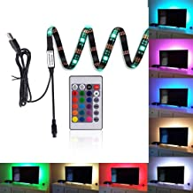 """LED Strips Bias Lighting TV Backlight RGB Lights with Remote Control for HDTV, Flat Screen TV Accessories and Desktop PC, Multi Color 35.4"""""""