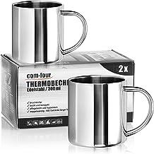 COM-FOUR® 2x roestvrijstalen koffiemokken - 300 ml per koffiekop - thermische drinkbekers van hoogwaardig roestvrij staal...
