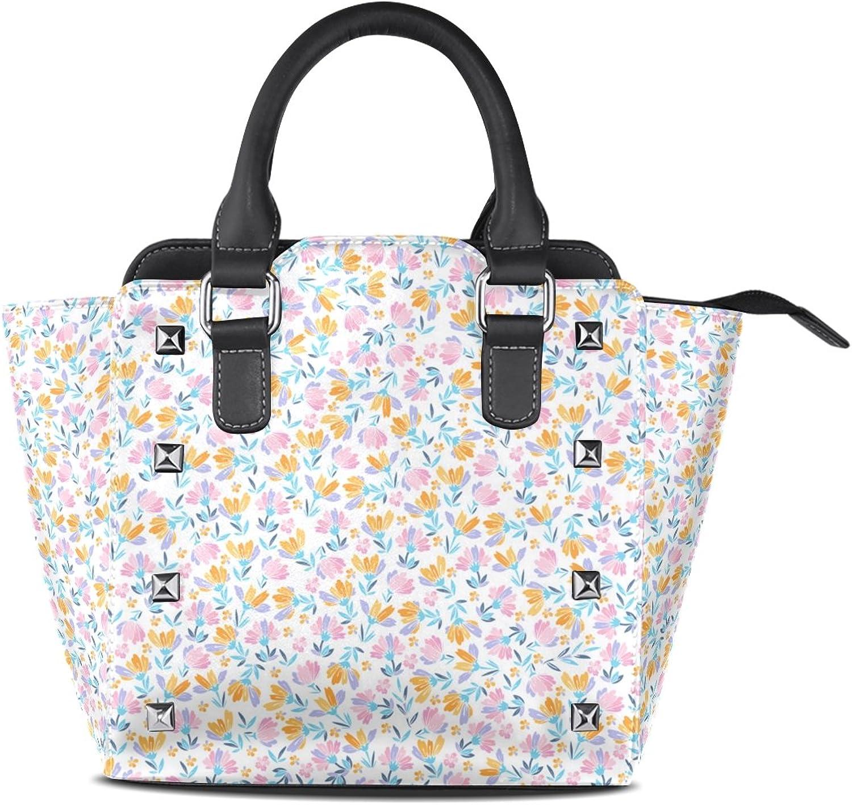My Little Nest Women's Top Handle Satchel Handbag Floral Daisy Lilly Flowers Ladies PU Leather Shoulder Bag Crossbody Bag