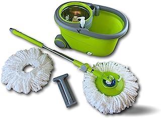 Kit seau essoreur rotatif easy mop avec balai   Lot de 3   Permet de laver et sécher le sol   Doté d'1 recharge microfibre...