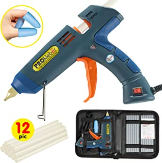 PROkleber Hot Melt Glue Gun Kit Full Size 100 Watt with Carry Bag and 12 pcs Glue Sticks,..