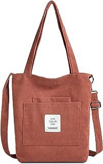 Makukke Umhängetasche Damen - Cord Schultertasche Damen Handtasche, Shopper Damen Henkeltasche für Büro Schule Einkauf Rei...