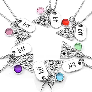 Set of 6 Antique Silver Color Pizza Slice Rhinestone BFF Friendship Necklace,Best Friend Forever
