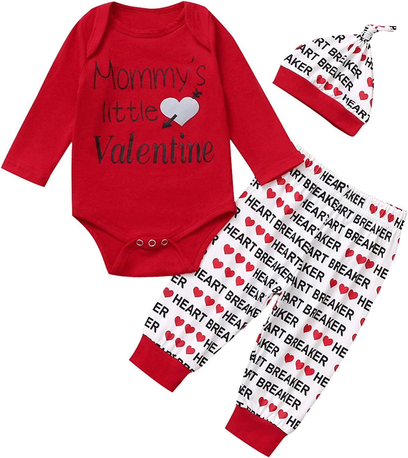 Valentine's Day Outfit Set Baby Boys Mommy's Little Valentines Bodysuit