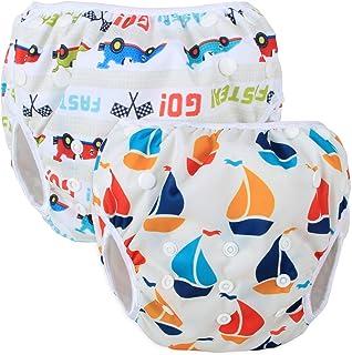 Teamoy 水遊びパンツ 2点セット 0-3歳 赤ちゃん用 ボタンでサイズ調整可能 防水外層 ポリエステルメッシュ内層 オムツカバー スイミング教室・公園・海水浴・プール(ヨット+レイシングカー)