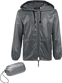 COOFANDY Men's Packable Rain Jacket Outdoor Waterproof Hooded Lightweight Classic Cycling Raincoat Poncho