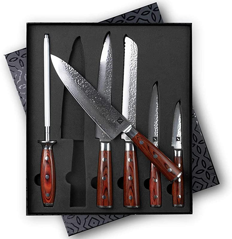 Zelancio Premium 6 Piece Hammered Japanese Steel Knife Set With High Carbon Core And 67 Layer Damascus Steel Blades Razor Sharp Professional Chef Quality With Teak Handles Damascus Steel Brown