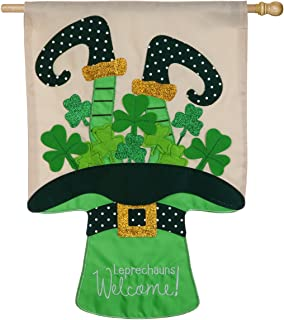 Evergreen Leprechauns Welcome Applique House Flag, 28 x 44 inches
