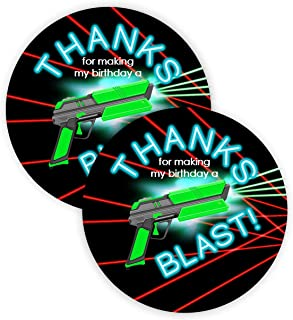 POP parties Laser Tag Brights Party Favor Stickers - 40 Favor Bag Stickers - Laser Tag Thank You Tag - Laser Tag Party Supplies - Laser Tag Party Decorations - Brights Stickers