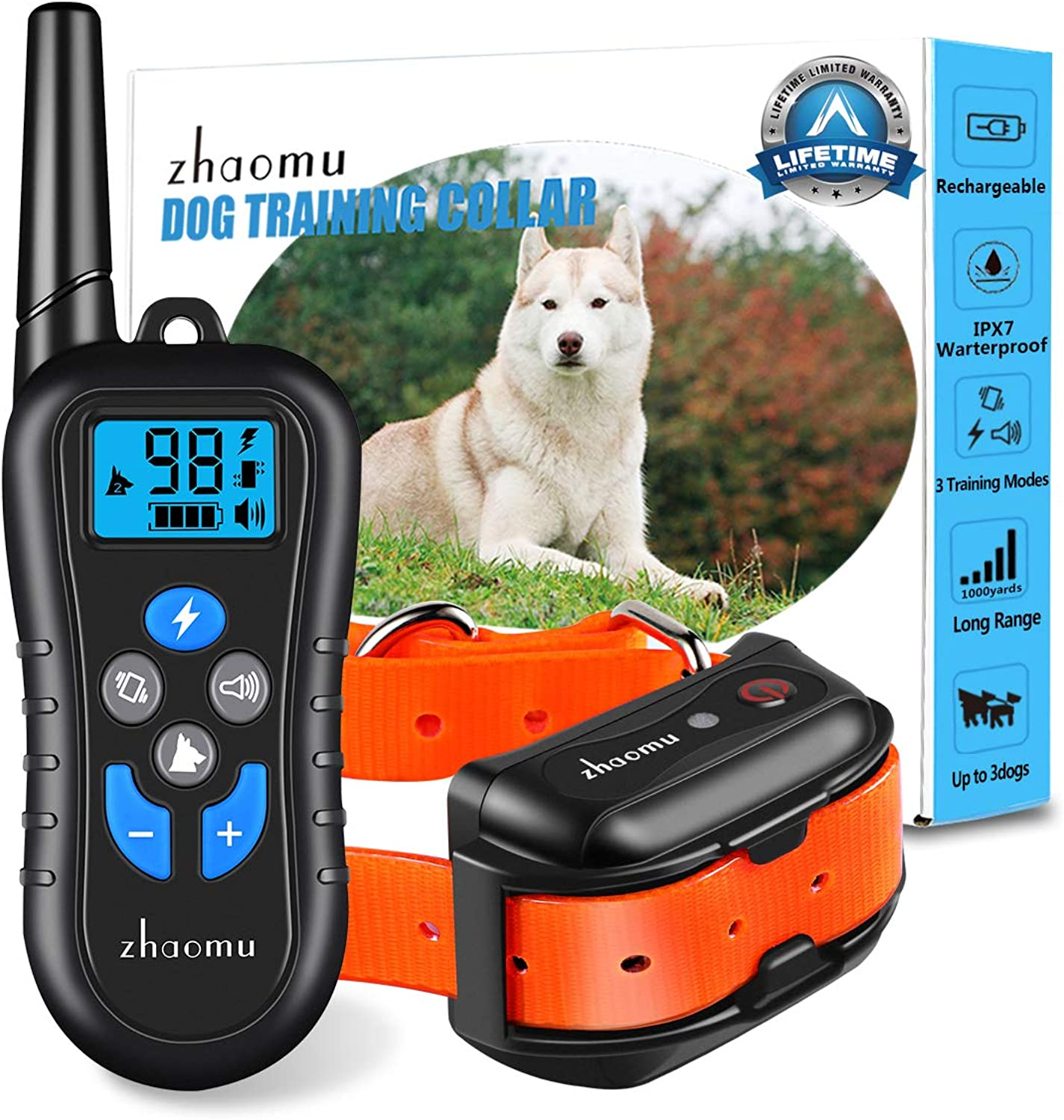 Dog Training Collar 1000 Yard Remote Range Dog Shock Collar with Tone,Vibration,Static Shock, Rechargeable ECollar 100% DEEP Waterproof Adjustable Shock Collars for Small Medium Large Dog (orange)