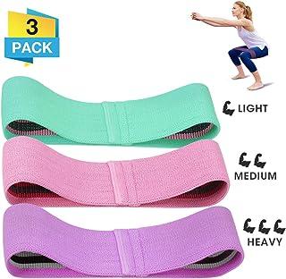 CAMTOA Bandas de resistencia Extensores de Pecho de tela Bucles de ejercicio premium, 3 bandas de botín de entrenamiento de nivel de resistencia, bandas de ejercicio físico con diseños antideslizantes