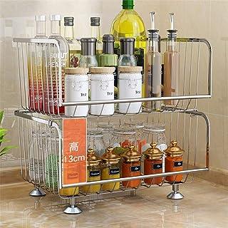 Rangement Cuisine Organisateur étagère Légumes et fruits panier 304 cuisine en acier inoxydable plat multicouche Shelf éta...