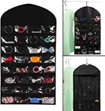 Centerline Black Jewelry Organizer Jewelry Hanging Non-Woven Organizer Closet Door Holder 28 Pockets 18 Hook and Loops W/H...