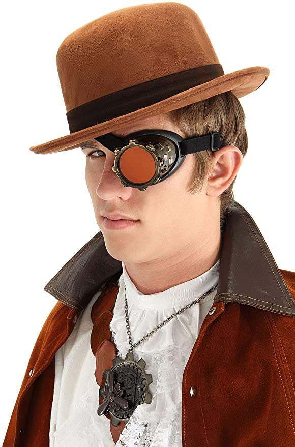 Steampunk Accessories | Goggles, Gears, Glasses, Guns, Mask elope Antique Gold Monocle Goggle Eyepatch Costume Steampunk Accessory  AT vintagedancer.com