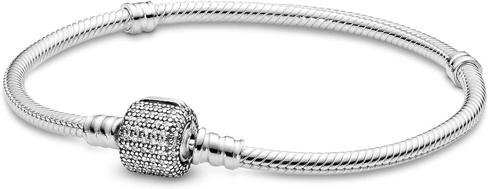 Pandora bracciale da donna pavé, chiusura a sfera in argento stearling 925 con zirconi bianchi 590723CZ-16