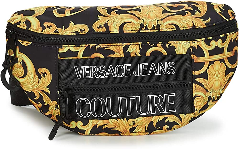 Versace jeans couture, marsupio unisex,in nylon con macrologo baroque all over EE1YWABA2-E71896_EM27