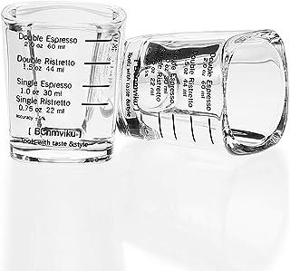 BCnmviku Espresso Shot Glasses Measuring Cup Liquid Heavy Glass for Baristas 2oz for Single Shot of Ristrettos (2 pack)