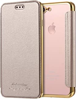 Luxury Wallet Flip Book PU Leather Phone Case for iPhone X XR XS Max 5 5S SE 6 6S 7 8 Plus Transparent Clear Back Cover Shell,Champagne Gold,for iPhone SE