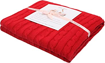 Adory Sweety 100% Cotton Decorative Knit Cable Throw Blanket Super Soft Warm for Couch Chairs Beach Sofa,50 x 60 inch,As Gift with Free Washing Bag(red)