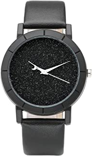 Top Plaza Fashion Womens Flash Power Dial Moon Second Hand Non-Scale Black Case Leather Band Analog Quartz Wrist Watch