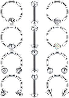 LAURITAMI 12pcs Piercing Helix Orecchini Anello Acciaio Chirurgico 8mm 16G Argento Ferro di Cavallo Captive Beads Ring Tra...