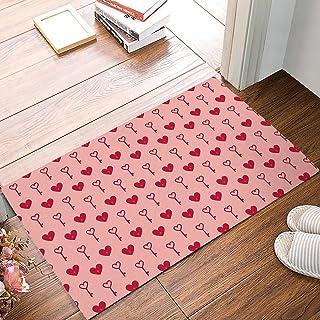 FAMILYDECOR Pink Valentine's Day Door Mats Rug Entrance Floor Mat Heart Shape and Key Doormat Non-Slip Backing Rug Indoor ...