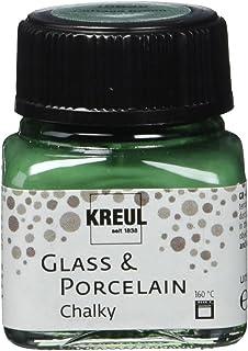 Kreul 16639 – Glass & Porcelain Chalky Cottage Green Verre 20 ml – Peinture douce – Peinture mate pour verre et porcelaine...