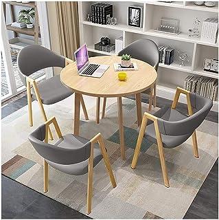 Mesa de comedor Juego de muebles Cafe Tabla Ocio y Juego de sillas de madera 1 Mesa redonda 4 sillas de cuero de PU for Office Mobiliario de cocina sala de estar La negociación de negocios Cafetería