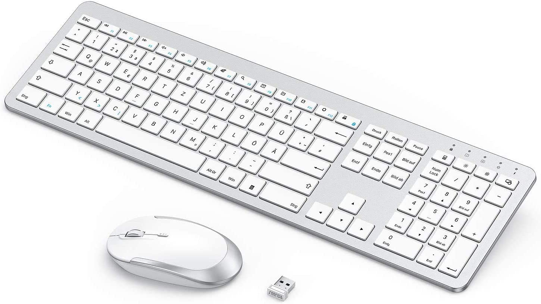 Wiederaufladbare Ultra-D/ünne Leise Tastatur Maus Set Kabellos Voller Gr/ö/ße Rosa Gold Ergonomische Tastatur Kabellos mit Silikon Staubschutz f/ür PC//Laptop//Smart TV usw seenda Funktastatur mit Maus