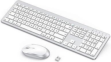 seenda Wiederaufladbare Tastatur Maus Set Kabellos(Full-Size), Ultra-Dünne Leise..