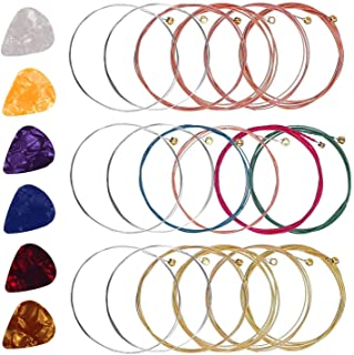 Acoustic Guitar Strings, 3 Sets Of 6 Guitar Strings Steel String With 6 Guitar Picks