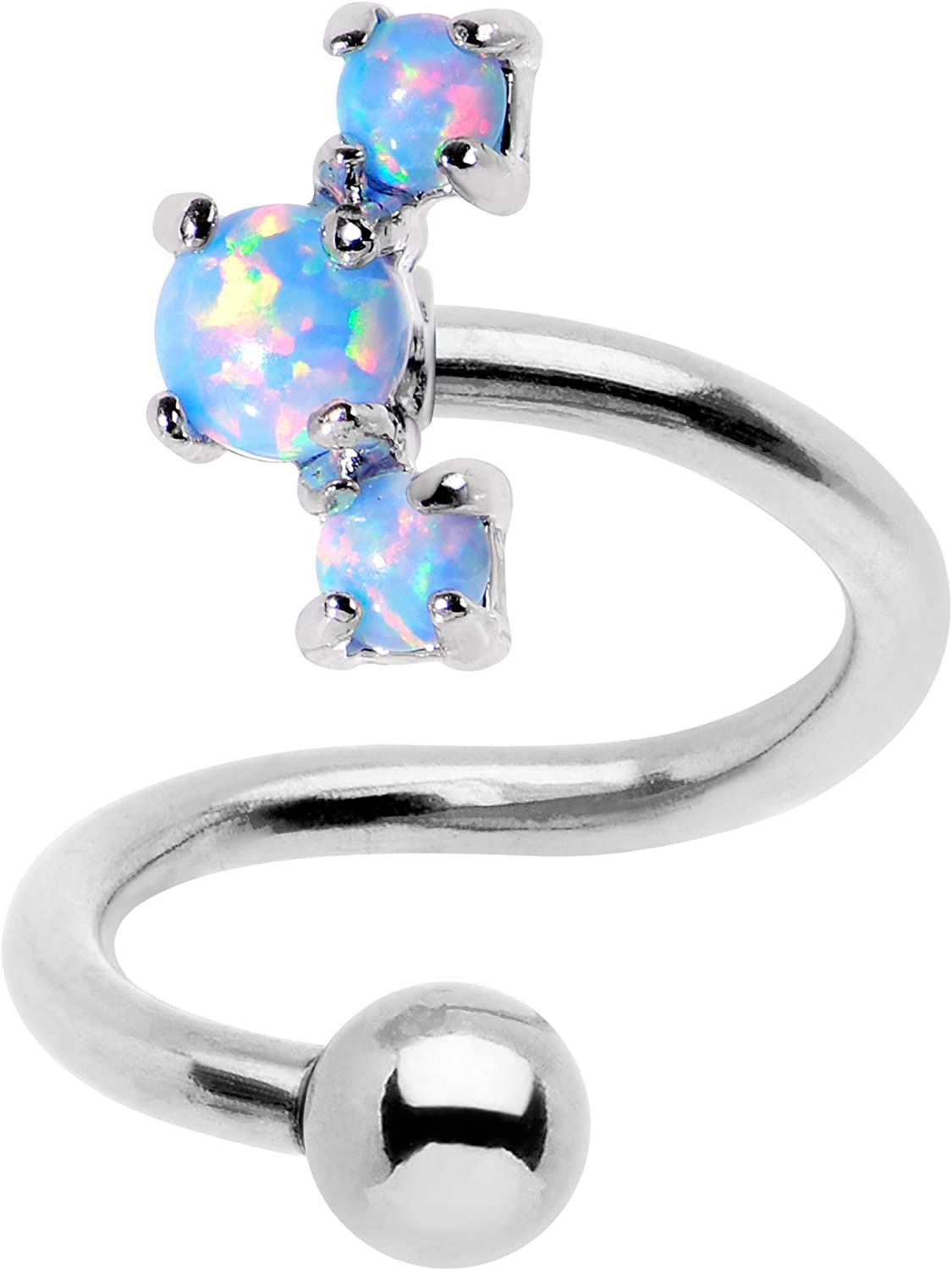 Body Candy Blue Synthetic Opal Cluster Spiral Twister Top Mount Belly Ring