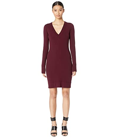 Jason Wu Wizard Knit V-Neck Day Dress (Claret) Women
