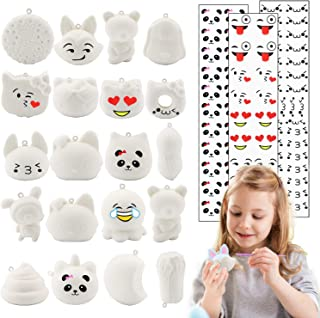 R.HORSE Random 20 Pack DIY Squishies Set Kawaii Cream Scented Squishies Slow Rising Food Squishies Bread Toys as Keychains, Phone Straps or Stress Relief Toy for Kids Bonus Gift Emoji Stickers